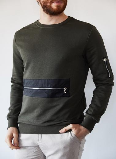 XHAN Haki Fermuarlı Detaylı Garnili Sweatshirt 1Kxe8-44237-09 Haki